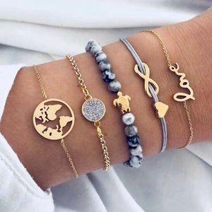 3/$33 5 Piece Earth Turtle Love Bracelet Set